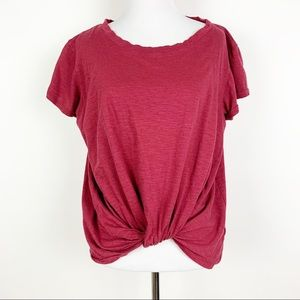 Bobeau Red Knotted Bottom Short Sleeve T-shirt